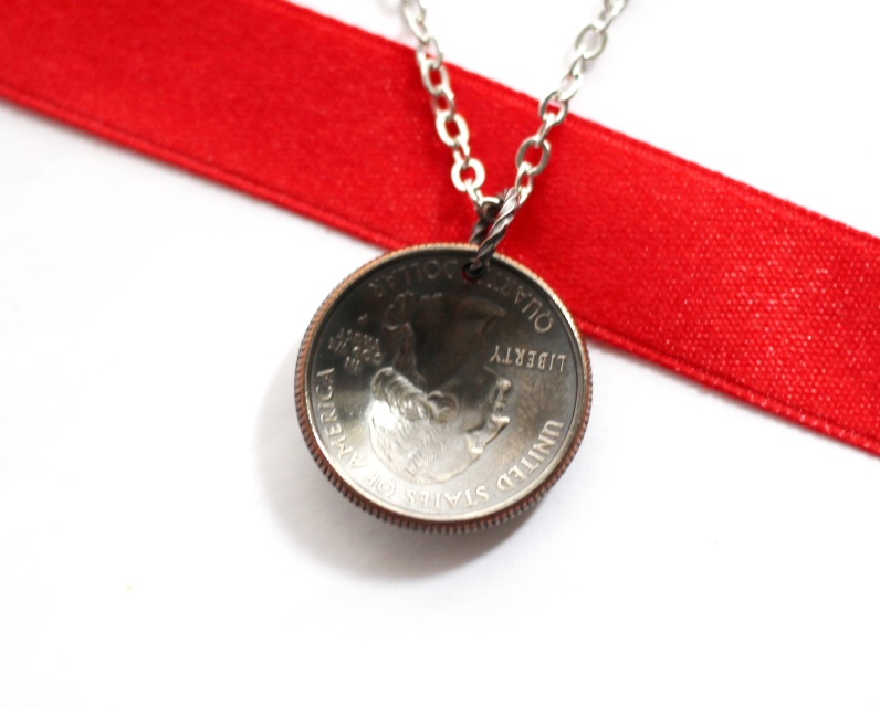 domed coin state quarter necklace pendant rhode island 2001