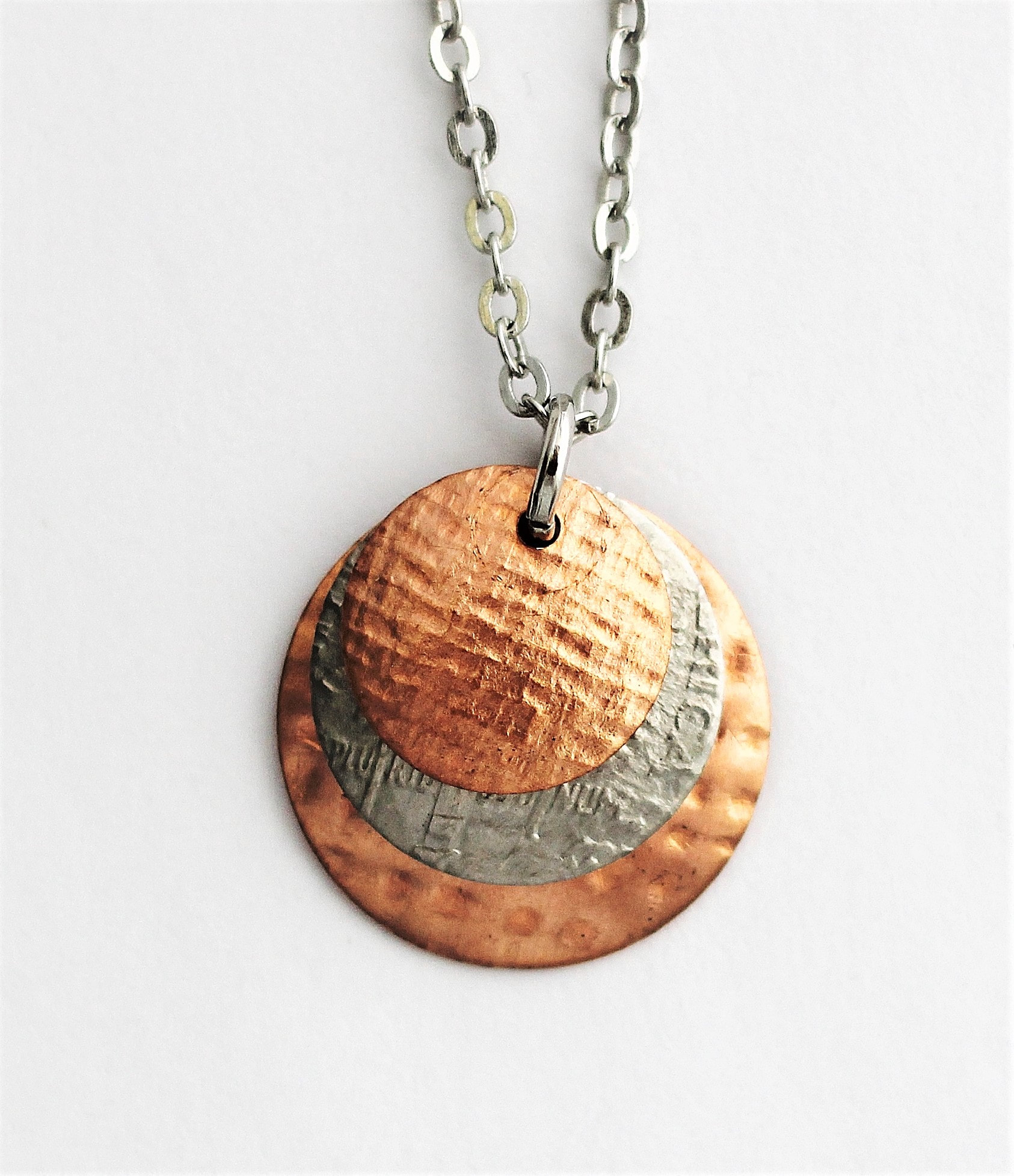 U S Dime Coin Necklace Layered Copper Pendant Handmade Mixed Metal Hendywood